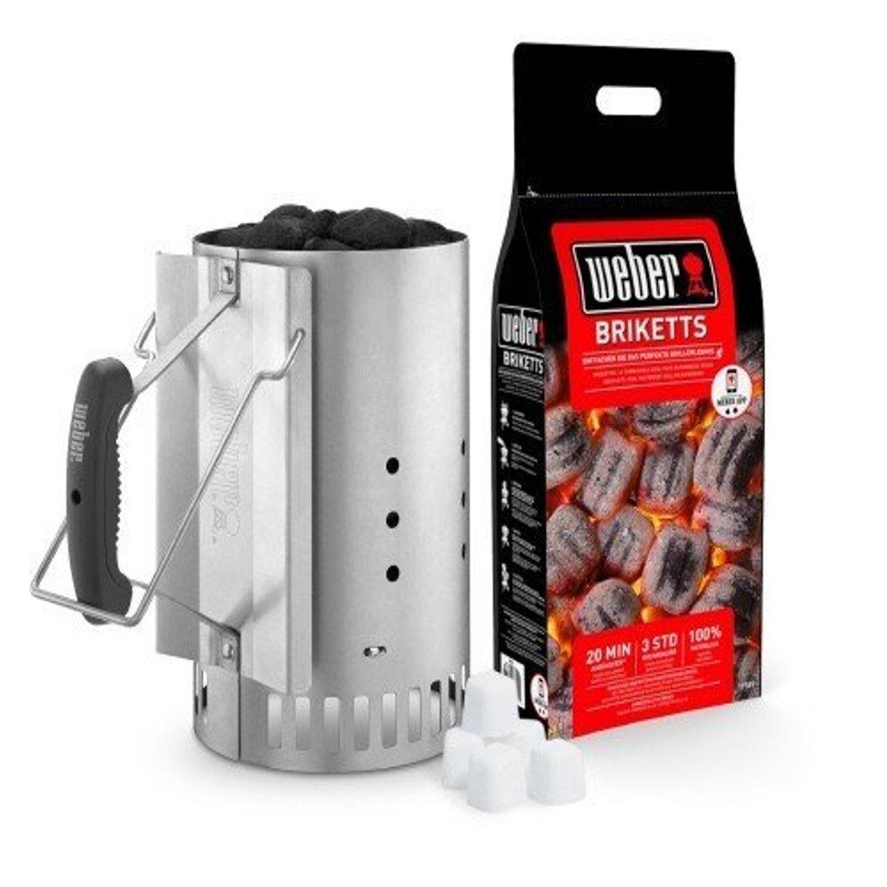 weber kit ciminiera di accensione 17631 con 2 kg di bricchette e 3 accendi fuoco 0077924041068