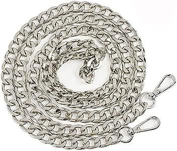 DIY Purse Chain Strap Flat Metal Chain Handbags Strap for Clutch Wallet Satchel Tote Bags Shoulder Crossbody Bag Satchel Long Repair Strap Women (Silver)