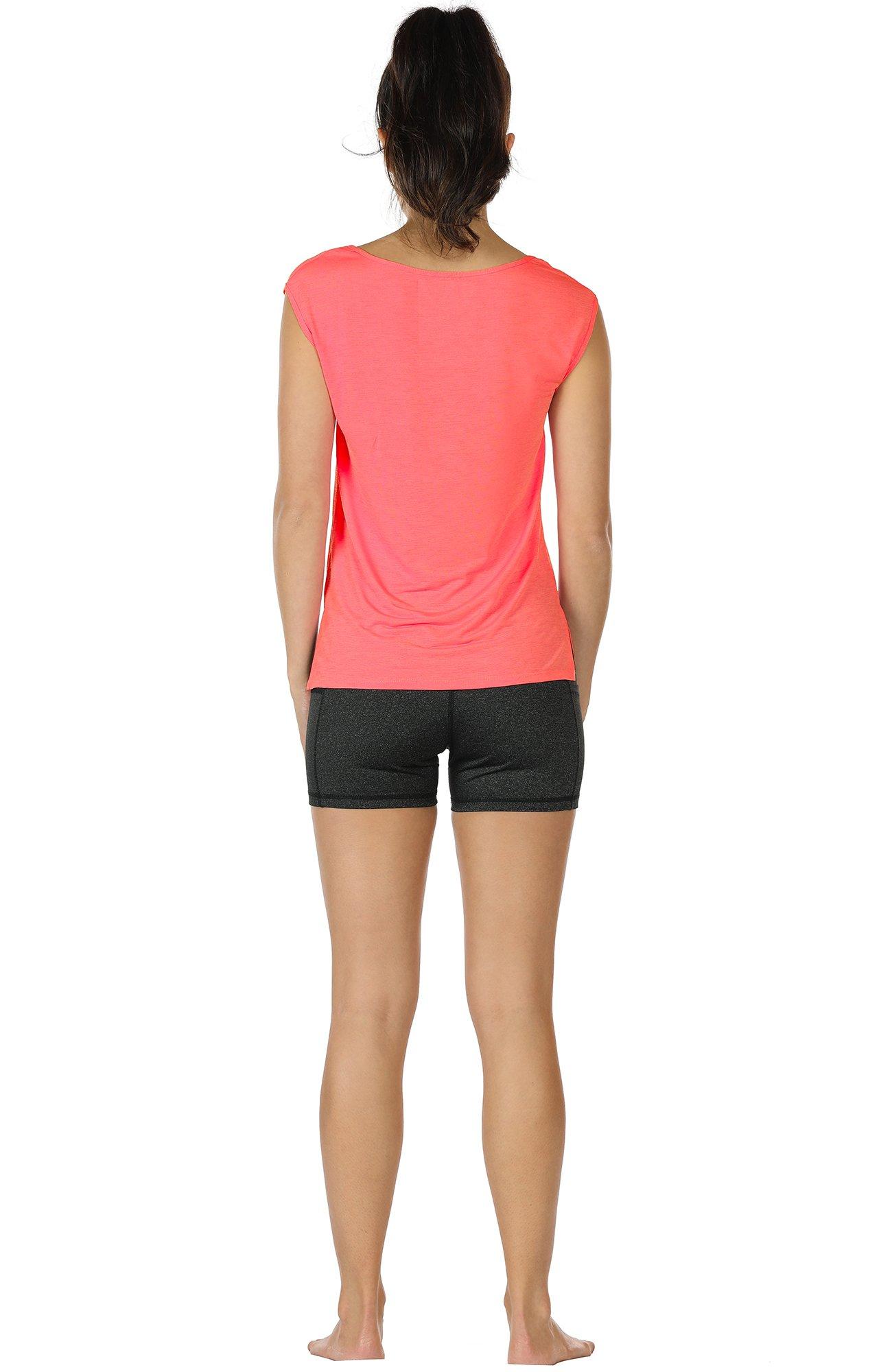 icyzone Yoga Tops Activewear Sleeveless Workout Running Shirts Flowy Tank Tops for Women (M, Black&Mandarin Red)