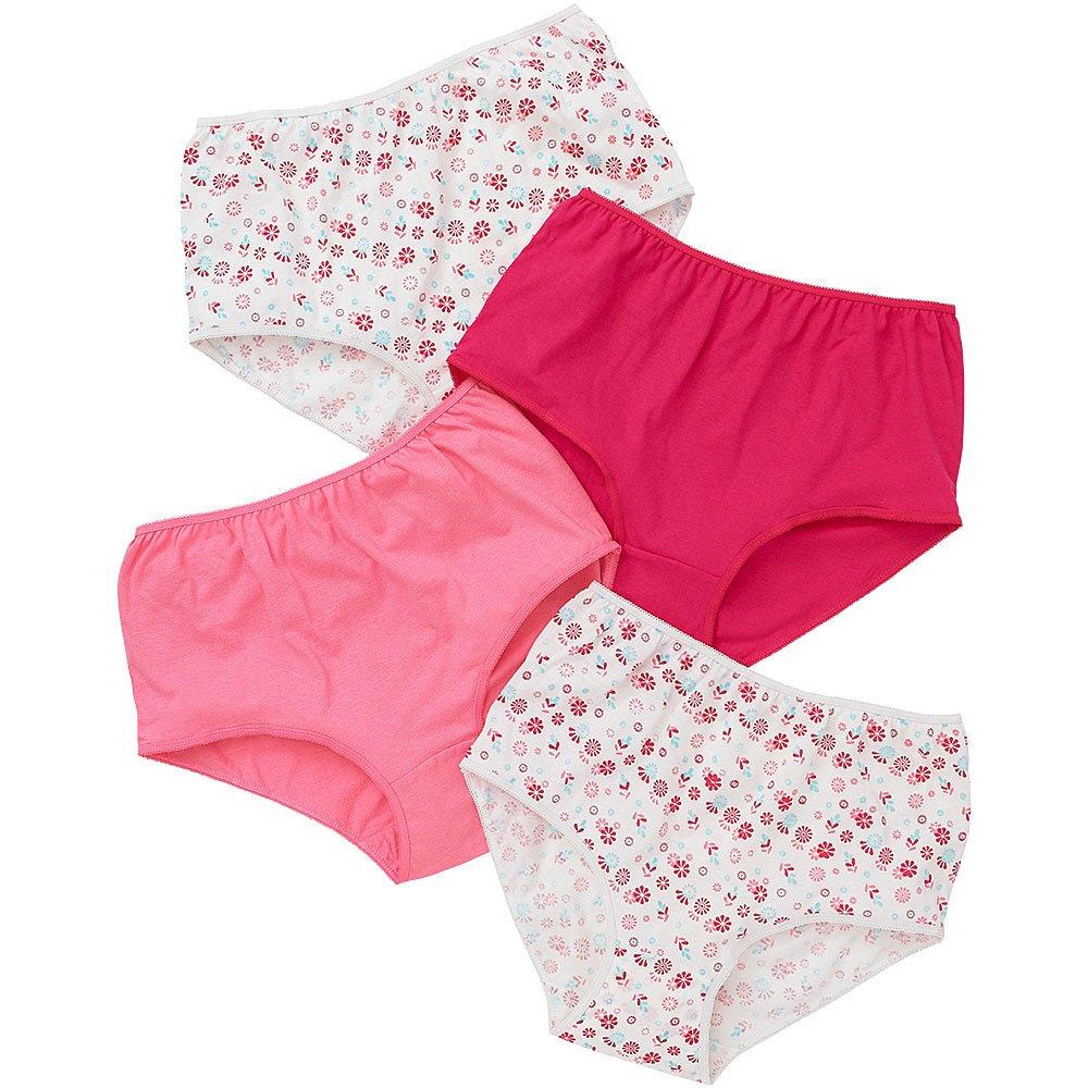 Just Essentials Ladies 4 Pack Cotton Floral Print High Waist Full Briefs
