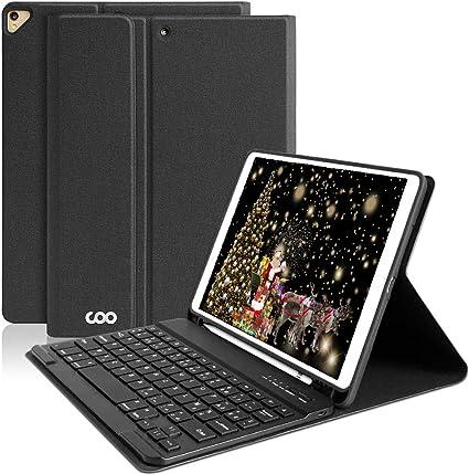 Housse Clavier pour New iPad Air 2019// iPad Pro 10.5 2017 AZERTY fran/çais Clavier Bluetooth sans Fil Slim Etui Noir Clavier Bluetooth Coque New iPad Air 2019// iPad Pro 10.5 2017