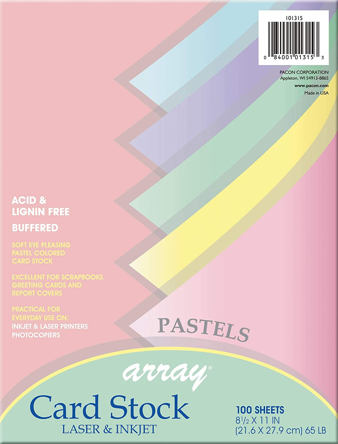 Array Card Stock Pacon Card Stock, 8 1/2 inches x 11 Inches, Pastel Assortment, 100 Sheets (101315), Assorted Pastel