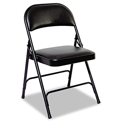 Exceptional Alera ALEFC96B Steel Folding Chair With Two Brace Support, Padded Back/Seat,