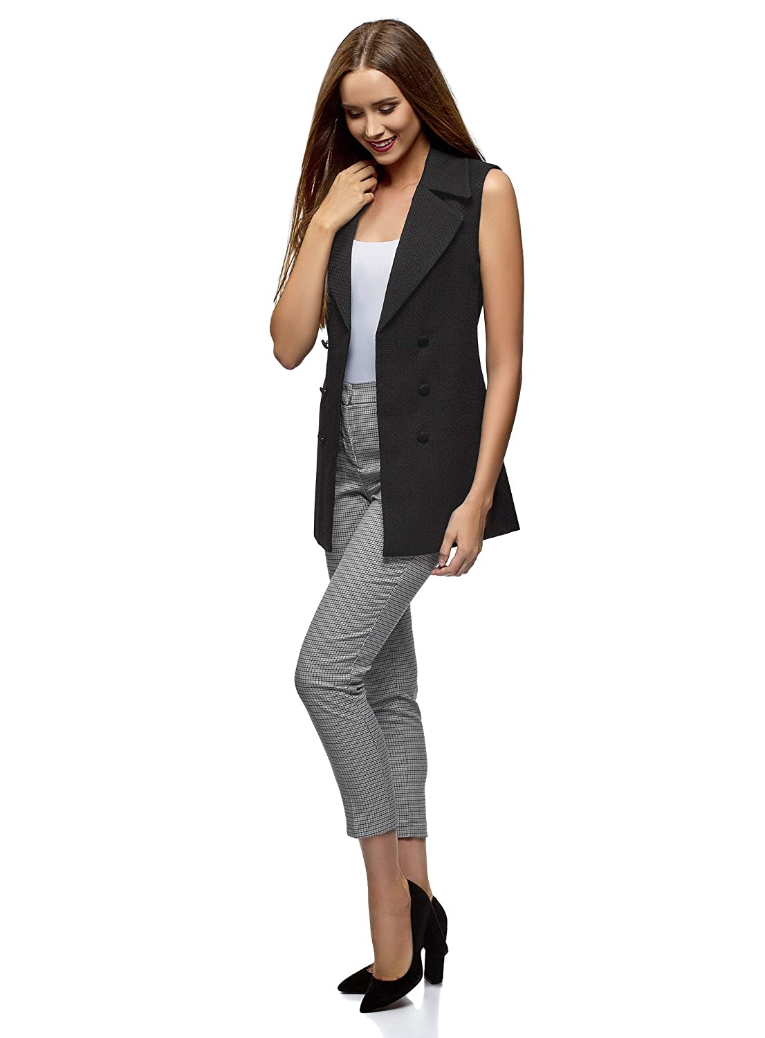 oodji Collection Womens Long Vest with Decorative Buttons
