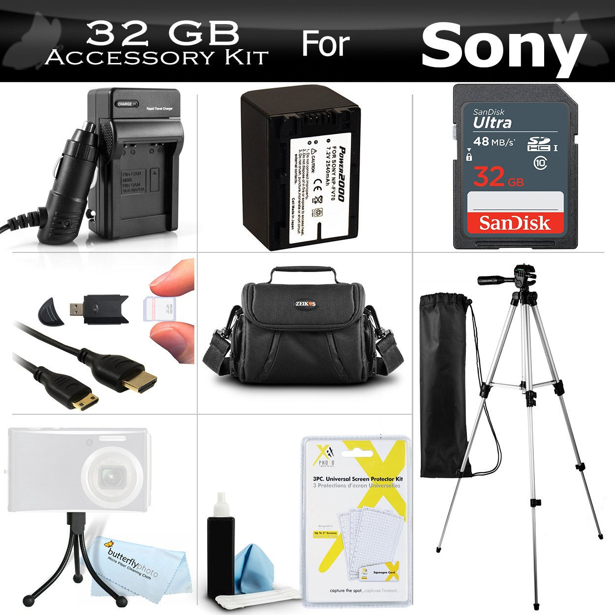 32GB Accessory Kit For Sony HDR-XR260V, HDR-TD20V, HDR-CX190, HDR-CX210 High Definition Handycam Camcorder Includes 32GB High Speed SD Memory Card + Replacement (2300Mah) NP-FV70 Battery + Ac / DC Charger + Deluxe Case + Tripod + Mini HDMI Cable + More