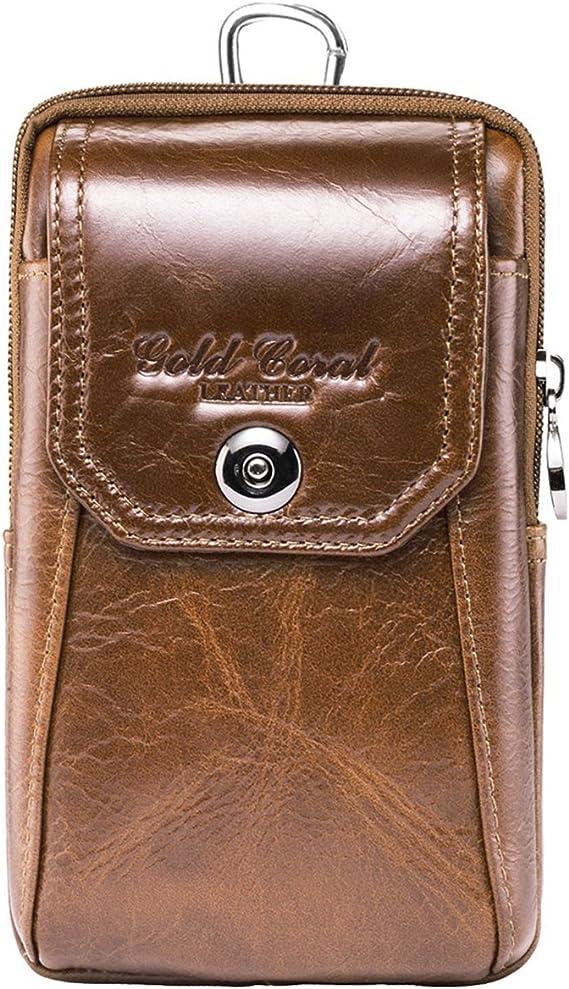 Men Genuine Leather Wallet Waist Phone Case Card Holder Zipper Belt Vintage Bag