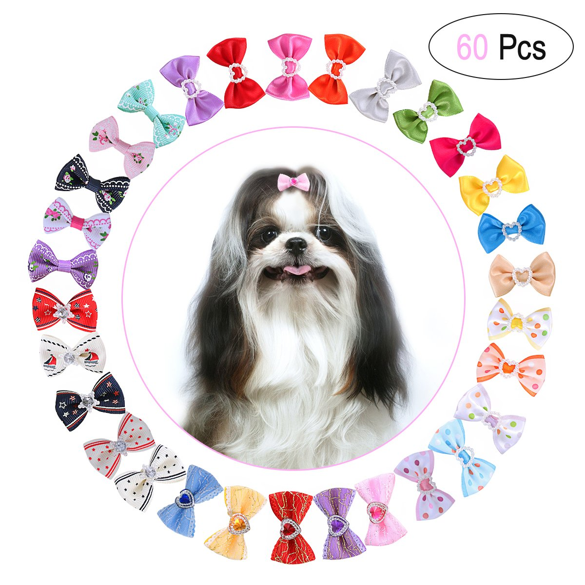 UEETEK 60PCS (30 Paris) Cute Puppy Dog Small Bowknot Hair Bows with Rubber Bands Handmade Hair Accessories Bow Pet Grooming Products (60 Pcs,Cute Patterns)