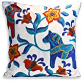 Milesky Throw Pillow Case Embroidery Cotton 18x18 inch (Dala Horse)