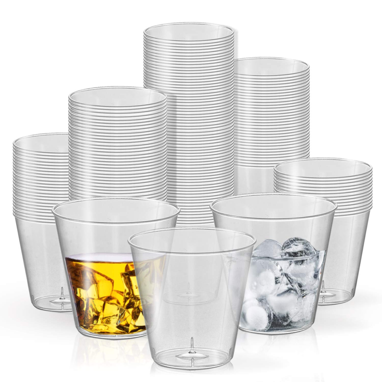Disposable Plastic Shot Glasses - 2500 Pcs Hard Plastic Clear Shot Glasses - 1 oz Punch Cups - Bulk Party Cup Supplies - Cocktail Drinking Party Cups for Weddings, Birthday Parties & Other Occasions by Kaya Collection