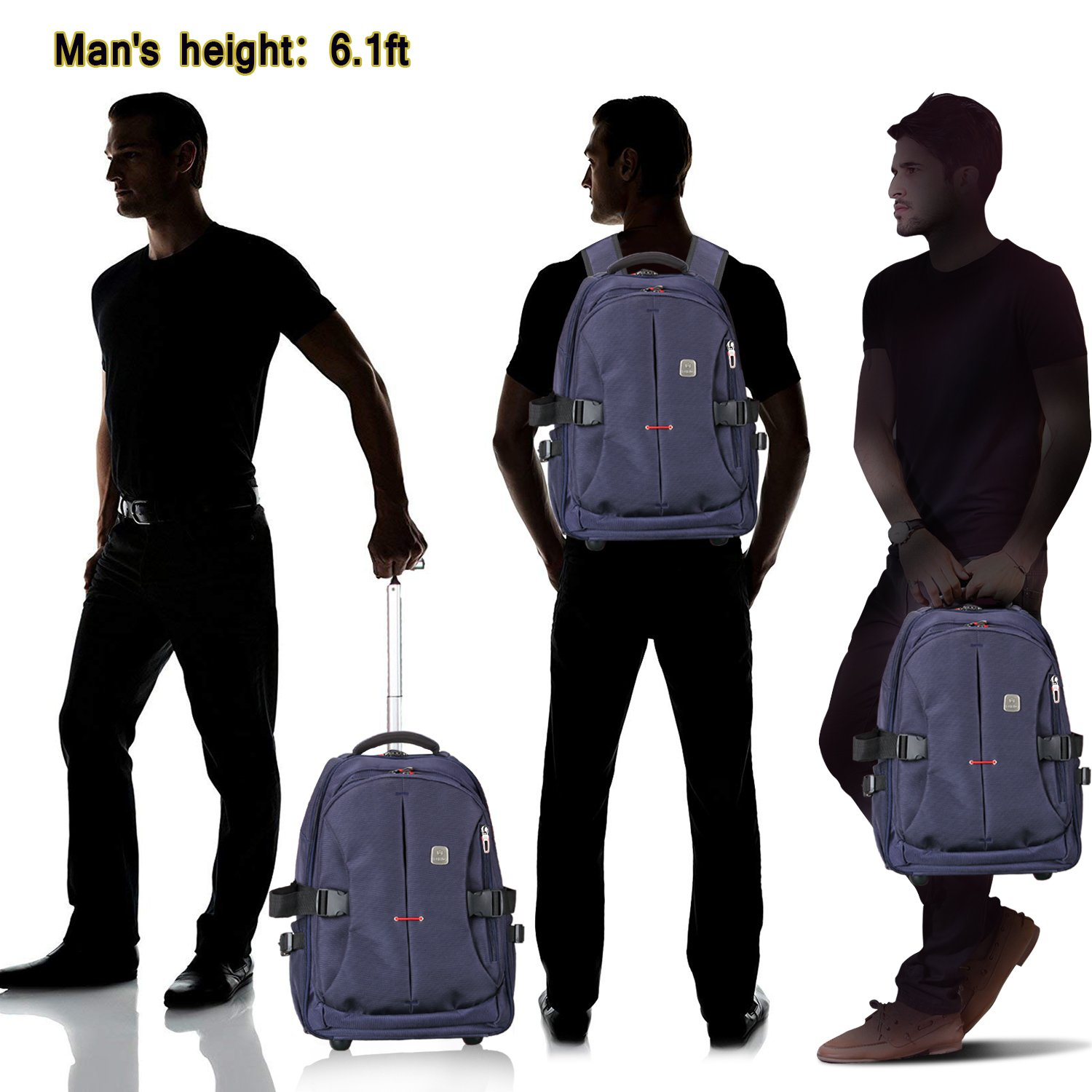 8c631dfe8867 19 Rolling Carry-on Luggage Travel Duffel Bag for Men,TSA Checkpoint  Friendly Wheeled Backpack Porlik