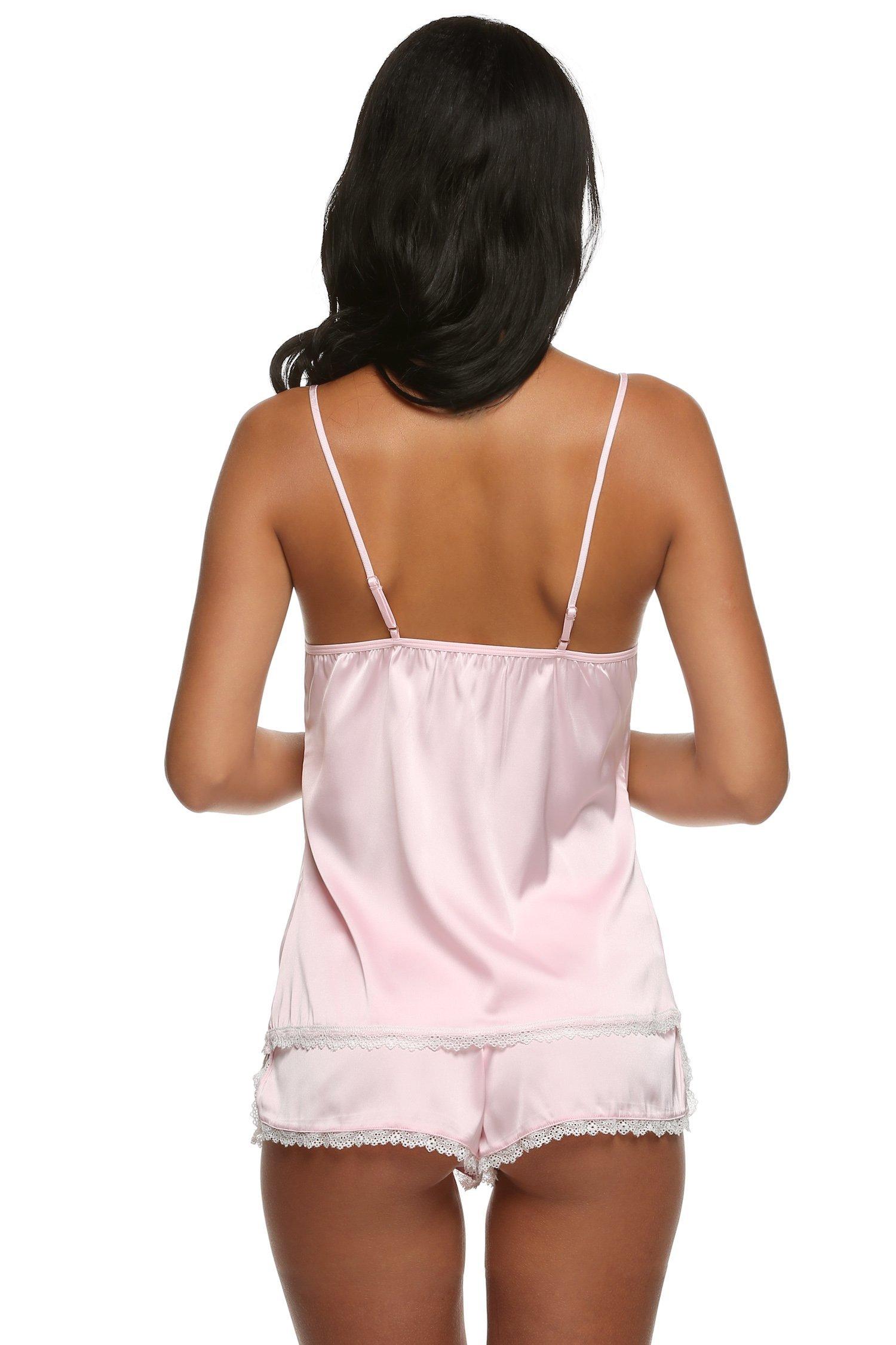 053a1c8dd113 Ekouaer Womens Sexy Lingerie Lace Pjs Sleepwear Shorts Cami Set (Pink