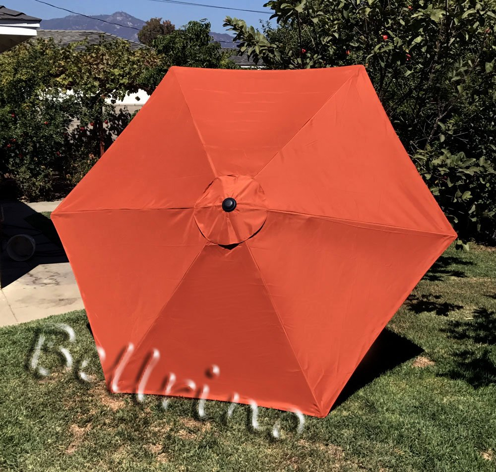 BELLRINO Replacement Umbrella Canopy for 9ft 6 Ribs Burnt Orange Canopy Only