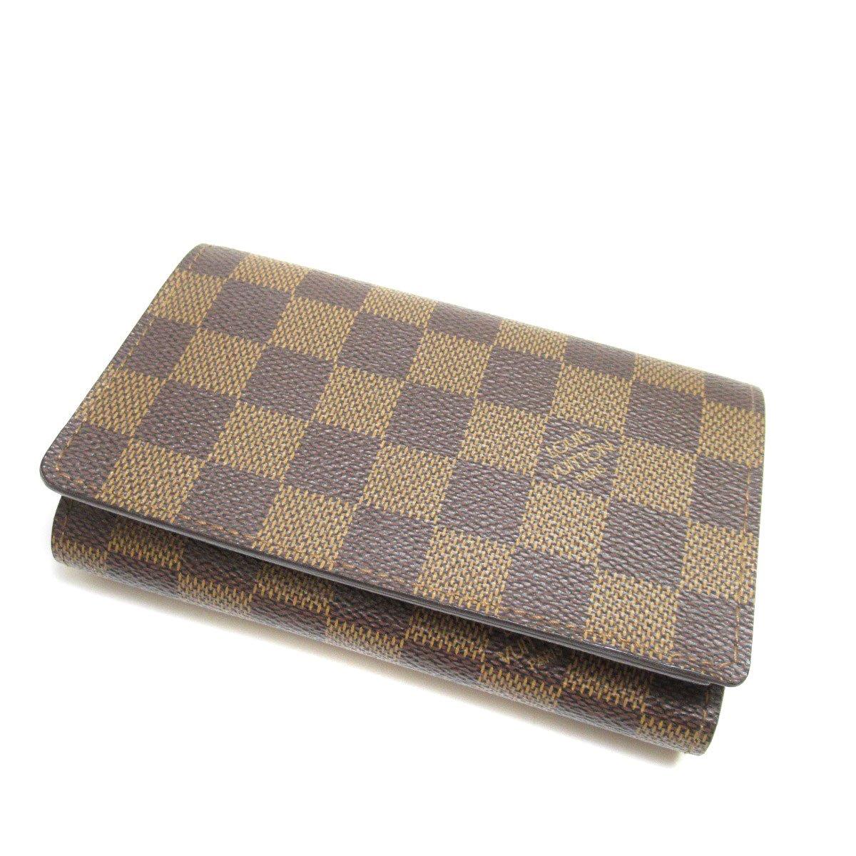 [ルイヴィトン]ポルト フォイユ トレゾール 二つ折り財布(小銭入れあり) ダミエキャンバス レディース (中古) B07F2RPGY5  -