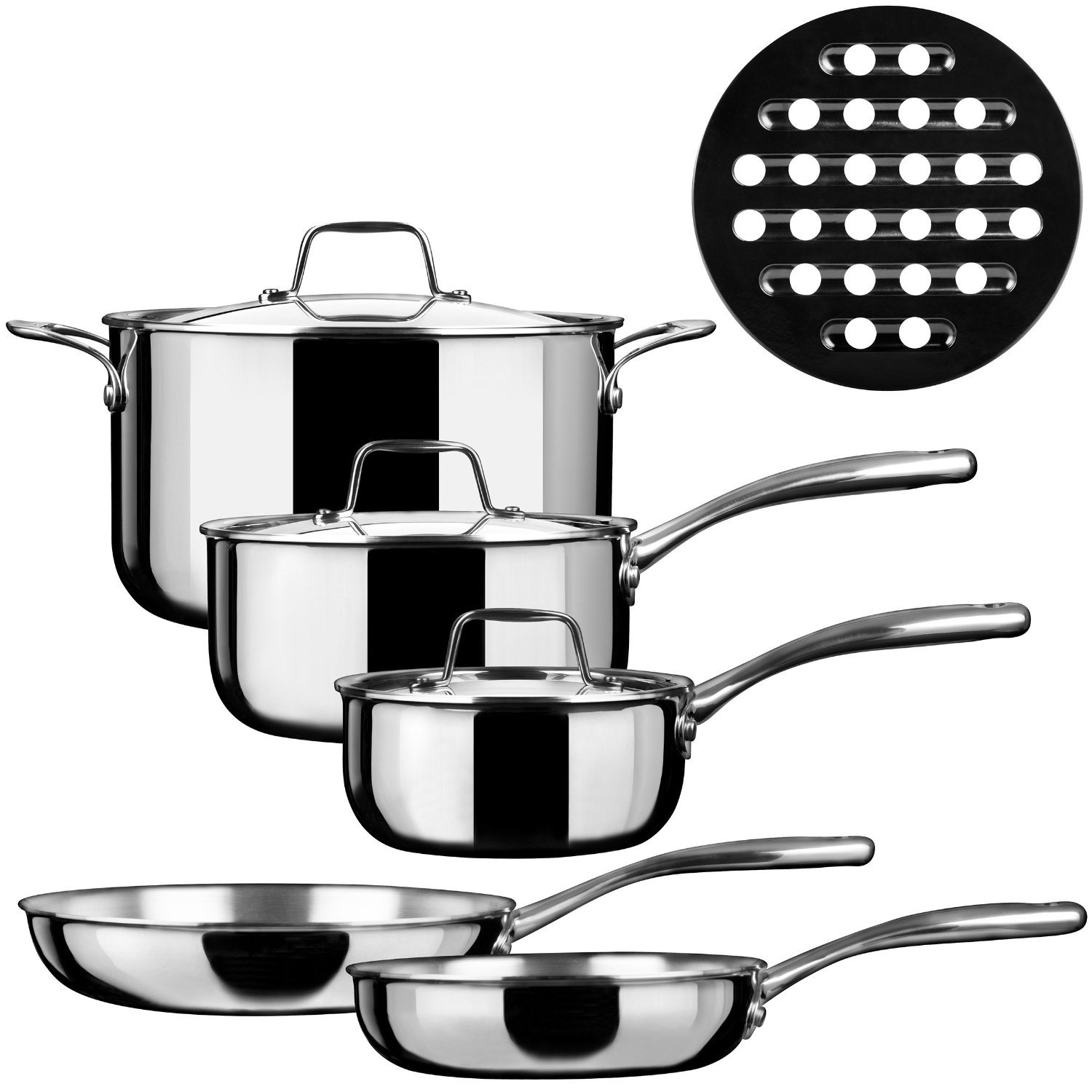 Duxtop SSC-9PC 9 Piece Whole-Clad Tri-Ply Induction Cookware, Stainless Steel Secura