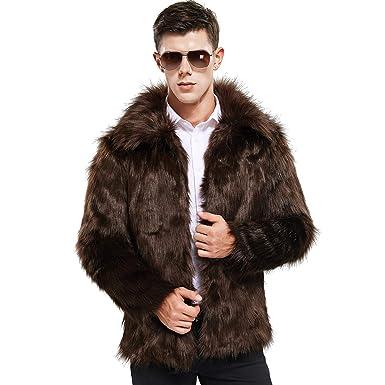e79601fb184220 Zicac Men's Faux Fur Coat Winter Warm Fur Jacket Luxury Long Sleeve  Overcoat Outerwear Parka(