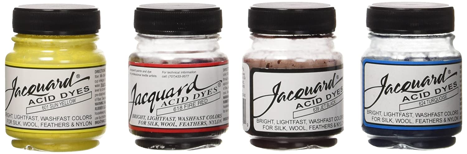 Jacquard Products Jacquard Acid Dye 4 Color Set with Citric Acid, Yellow, Multicolored