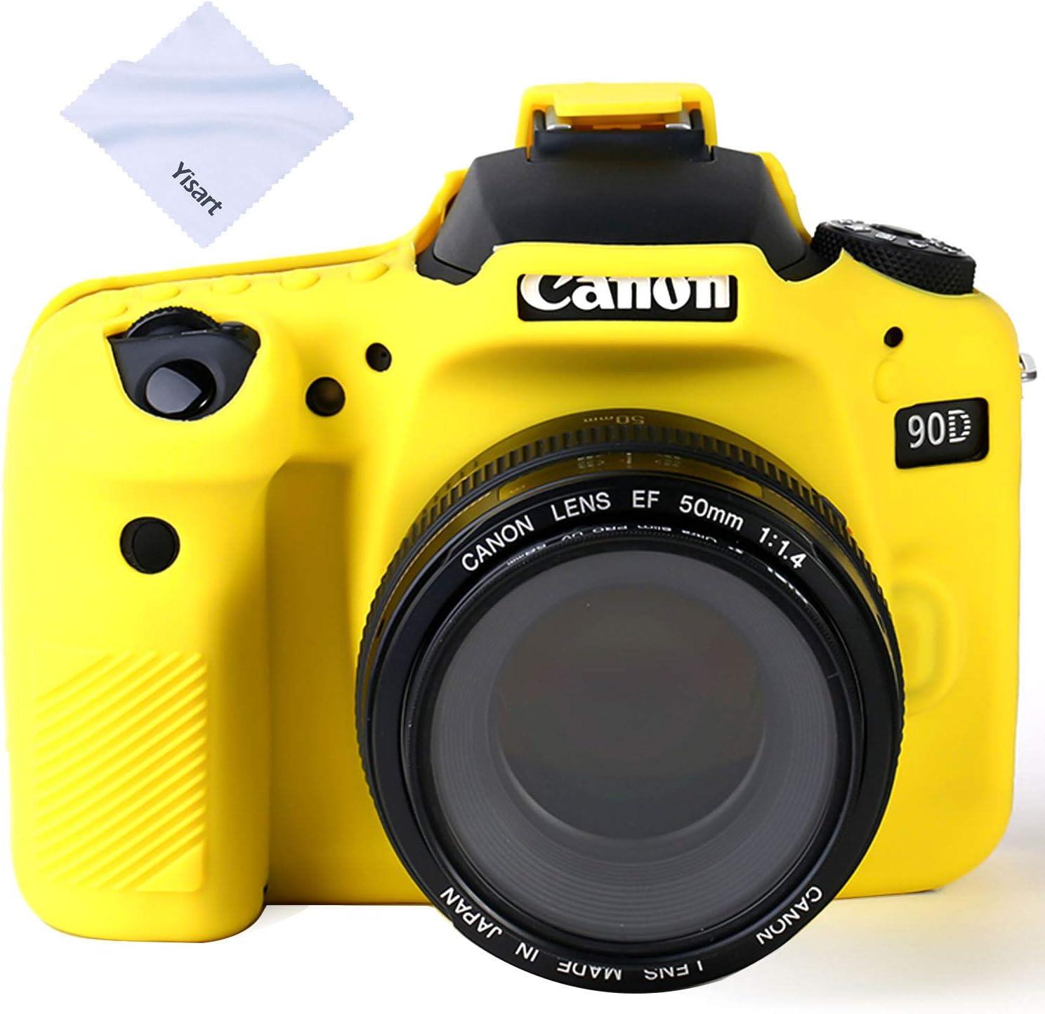Yisau 90D Camera Case Professional Silicone Camera Case for Canon EOS 90D Camera Canon Rebel EOS 90D Camera Beautiful Companion (Yellow)