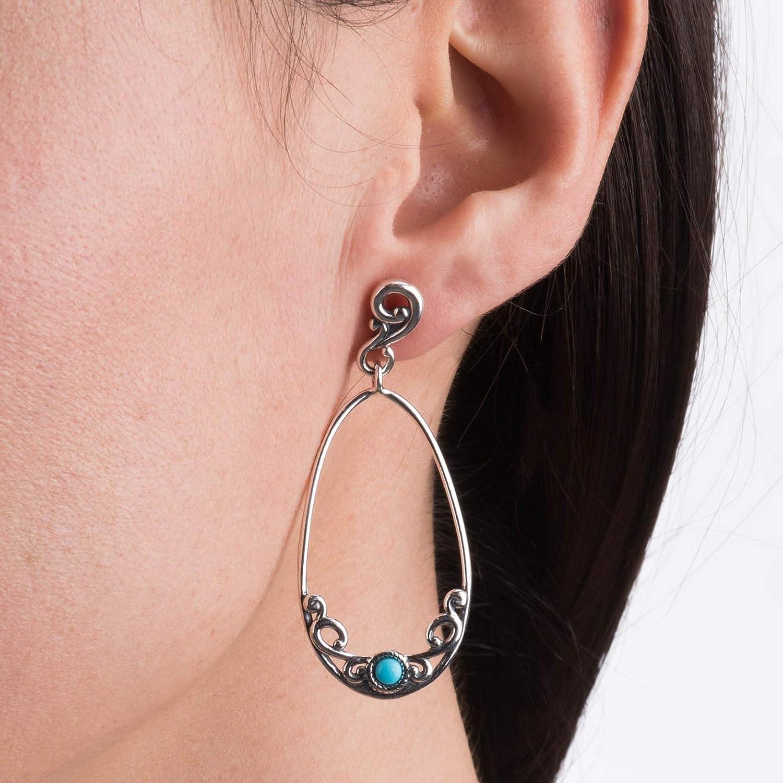 Carolyn Pollack Sterling Silver Sleeping Beauty Turquoise Teardrop Earrings
