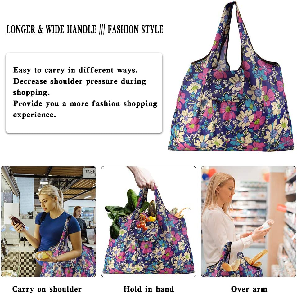 Grocery Bags Reusable Foldable Xx-large Tote Shopping Bags Heavy Duty Washable Cloth Grocery Bags 55lbs Eco-friendly Ripstop Waterproof Fits In Pocket (pattern 8) Kitchen & Dining