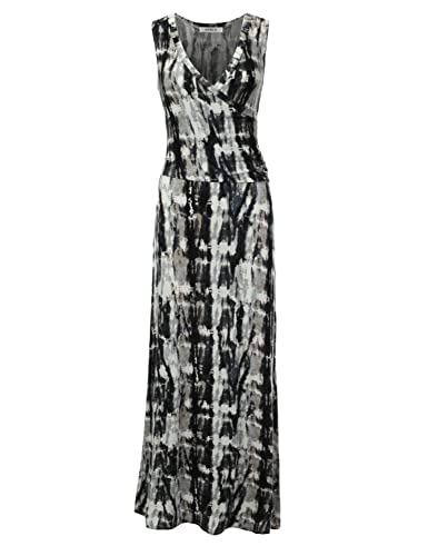 LA BASIC Womens Wrap Bodice Sleeveless Maxi Dress - Made In U.S.A (S-3XL)