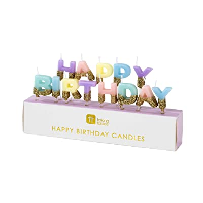 "Talking Tables Bday HB Happy Birthday Candles Cake Topper, Wax Height 2cm, 0.8"", Gold And Pastel colors: Kitchen & Dining"