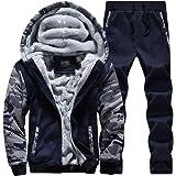 TianBin Uomo Manica Lunga Felpe con Cappuccio Giacche Invernali Caldo Pantaloni Sportivi 2 Pezzi Tute