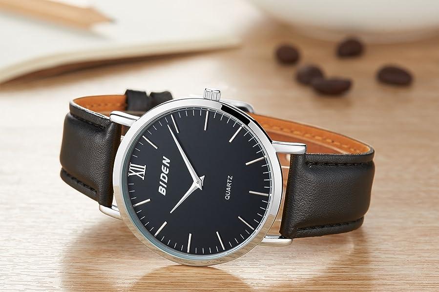 Amazon.com: BIDEN Super slim Men Quartz Watchs leather Analog Casual Wristwatch Mens Relojes Hombre: Watches
