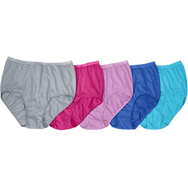 e80554e7b1230d Comfort Choice Women's Plus Size 5-Pack Nylon Full-Cut Brief - Fashion Pack
