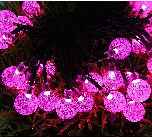 CIDEROS Solar Fairy Lights 19.6ft 30LEDs String Lights Waterproof Long Globe Flashing Lights for Christmas Party, Festival, Garden Path, Home, Wedding, Bedroom, Yard Decoration Magenta