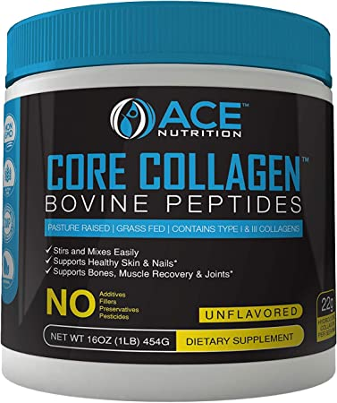Collagen Peptides by ACE Nutrition – Core Collagen Powder Bovine Peptides (16oz) – Pasture Raised, Grass Fed, Non-GMO, Gluten Free, Natural Collagen Powder – Unflavored & Easy to Mix, Made in The USA