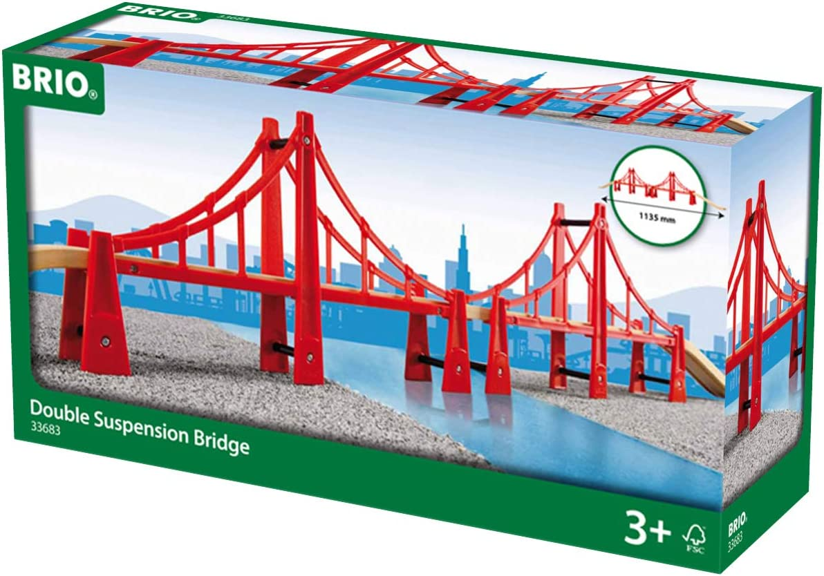 B0007W5S8U BRIO World - 33683 Double Suspension Bridge | 5 Piece Toy Train Accessory for Kids Age 3 and Up 71i6SsfY2B8L