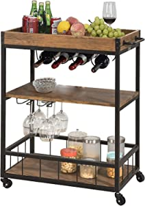 YAKEY Bar Serving Cart Home Mobile Kitchen Serving cart on Wheels 3-Tier Wine Cart with Storage,Removable Tray, Industrial Vintage Style Wood Metal Serving Trolley 35.2