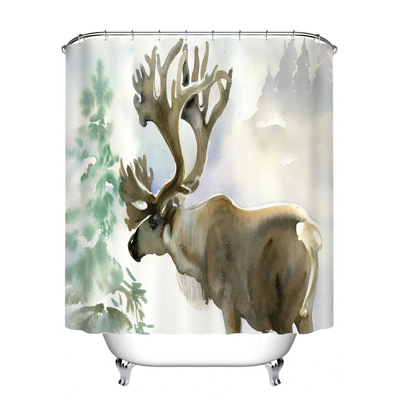 Amazon LB Watercolor Moose Elk Shower Curtains For Bathroom By Unique Wildlife Animal Theme Bath Curtain 70x70 Inch Waterproof Mold