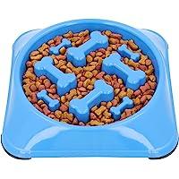MOLDEPLASTIC Plato de alimentación Lenta para Perro, Mejora la digestión, Anti Asfixia. (Azul)