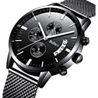 Watch Mens Watches Business Stainless Steel Waterproof Multifunction Calendar Mesh Band Watch for Men