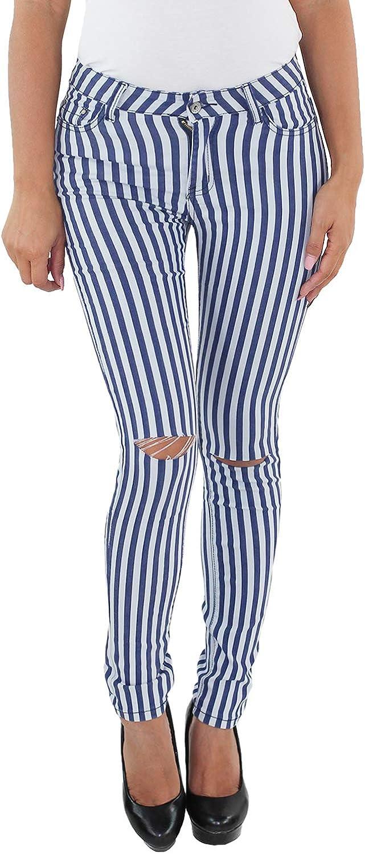 Sotala Damen Stretch Hüft Röhren Jeans Hose Slim Fit Skinny Röhrenjeans Schwarz Weiss Weiß gestreift Streifen