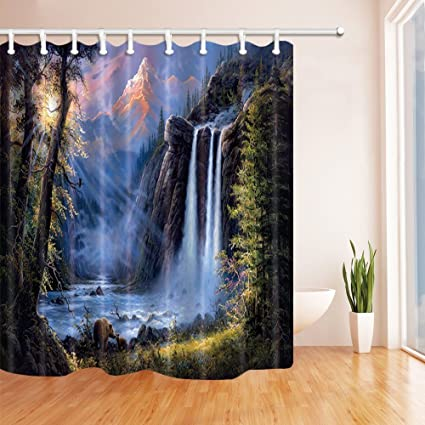 SZDR Natural Landscaping Shower Curtain The Sun Shines Through Forest At Sunrise Green