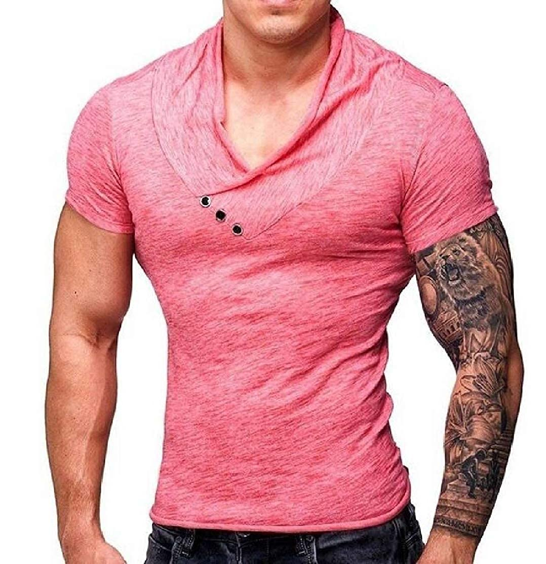 Domple Mens Slim V-Neck Sport Solid Short Sleeve Casual T Shirts Tee