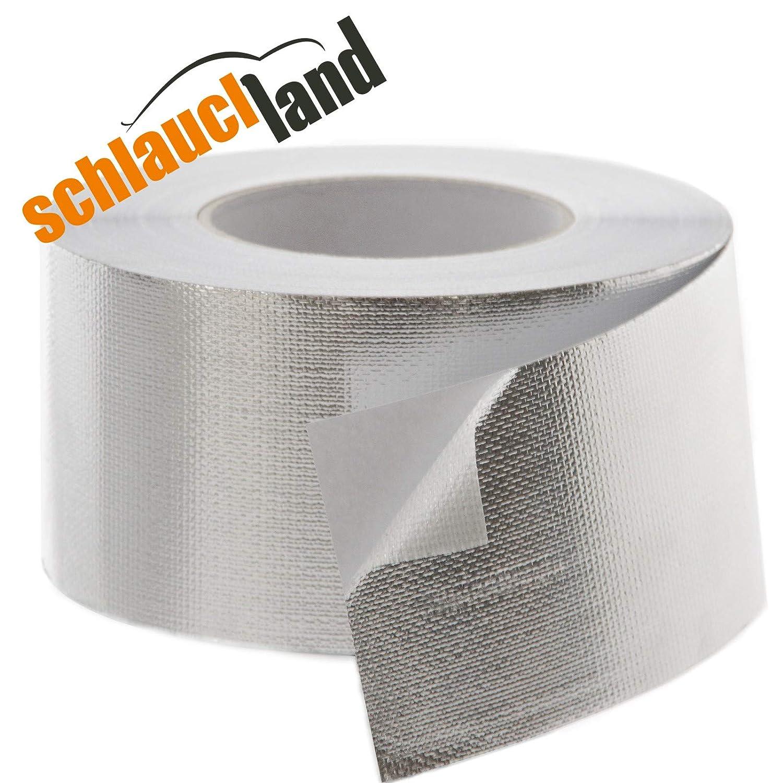Schlauchland 10m Aluminium Klebeband 50mm Fiberglas Gewebe verstä rkt PROTECTOX *** Profi Qualitä t Hitzeschutzband Alu Aluband