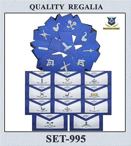 Amazon com: Masonic Blue Lodge Officeres Aprons & Collars Set- Set