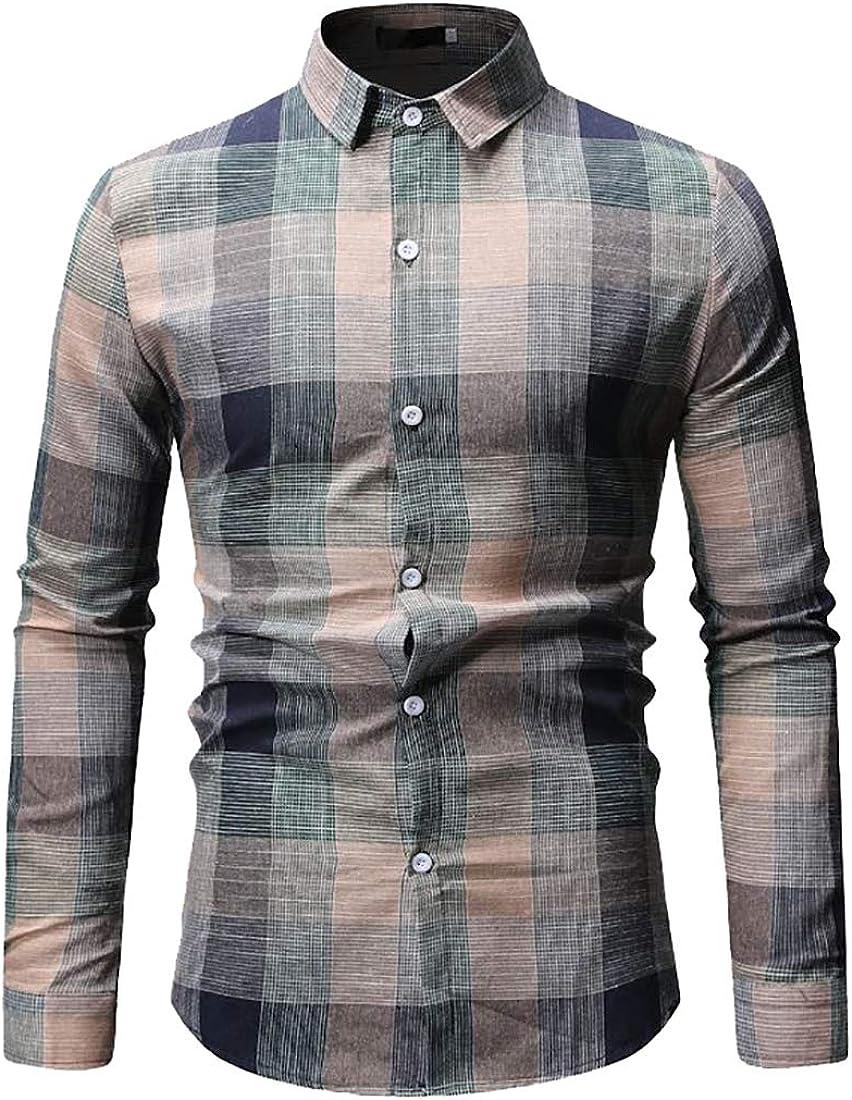 M&S&W Camisa a Cuadros Escoceses para Hombre - Verde - Large ...