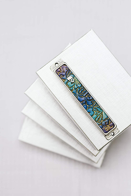 Mezuzah With Kosher Scroll For Bar Mitzvah Gift Handmade Designer Mezuzah Art Ombre Purple Blue Floral Mezuzah Israeli Art