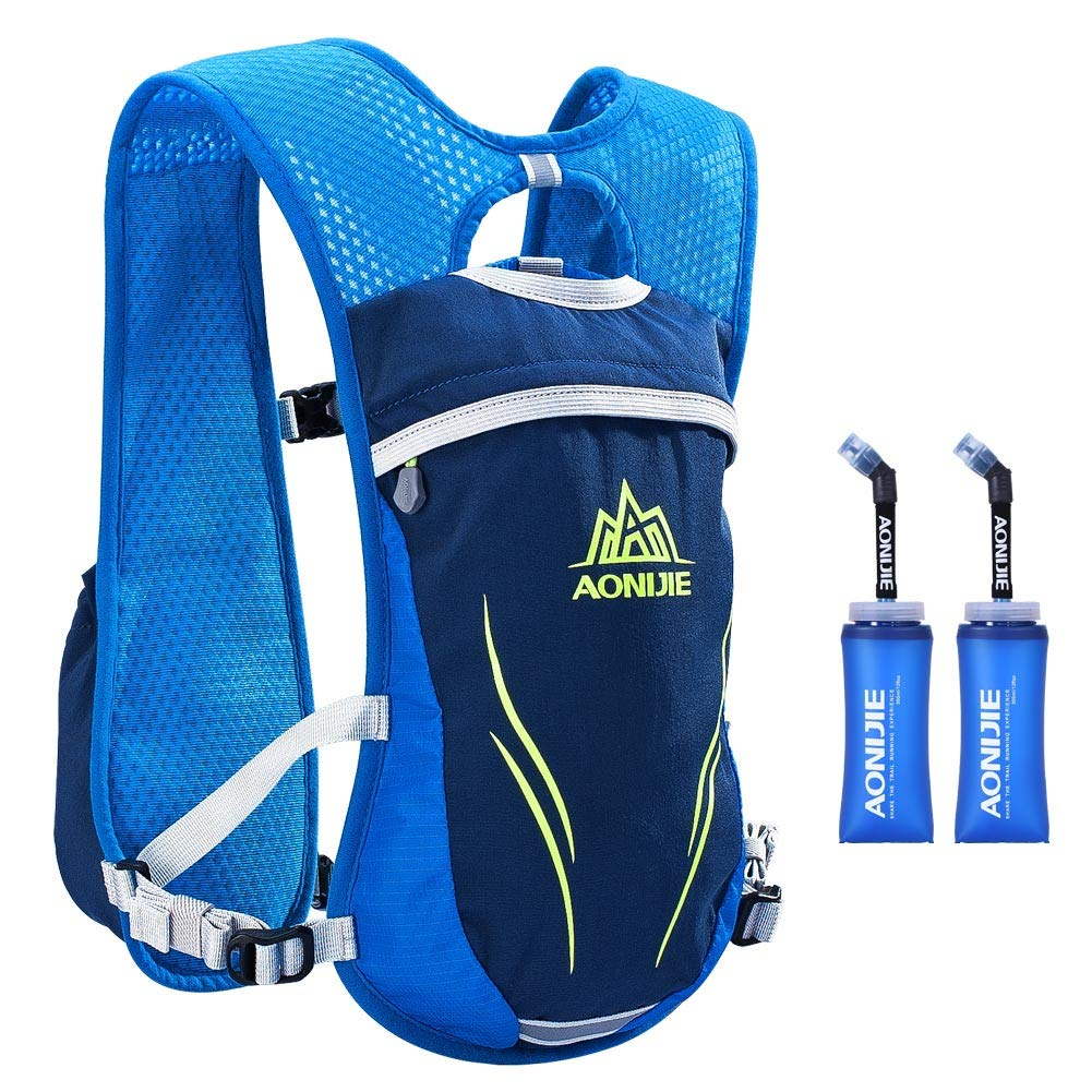 AONIJIE Hydration Vests Running Hydration Pack Backpack for Women and Men Lightweight Camel Backpack with Water Bottles for Trail Running Cycling Marathon Race 5.5L(blue-350ml) by AONIJIE (Image #1)