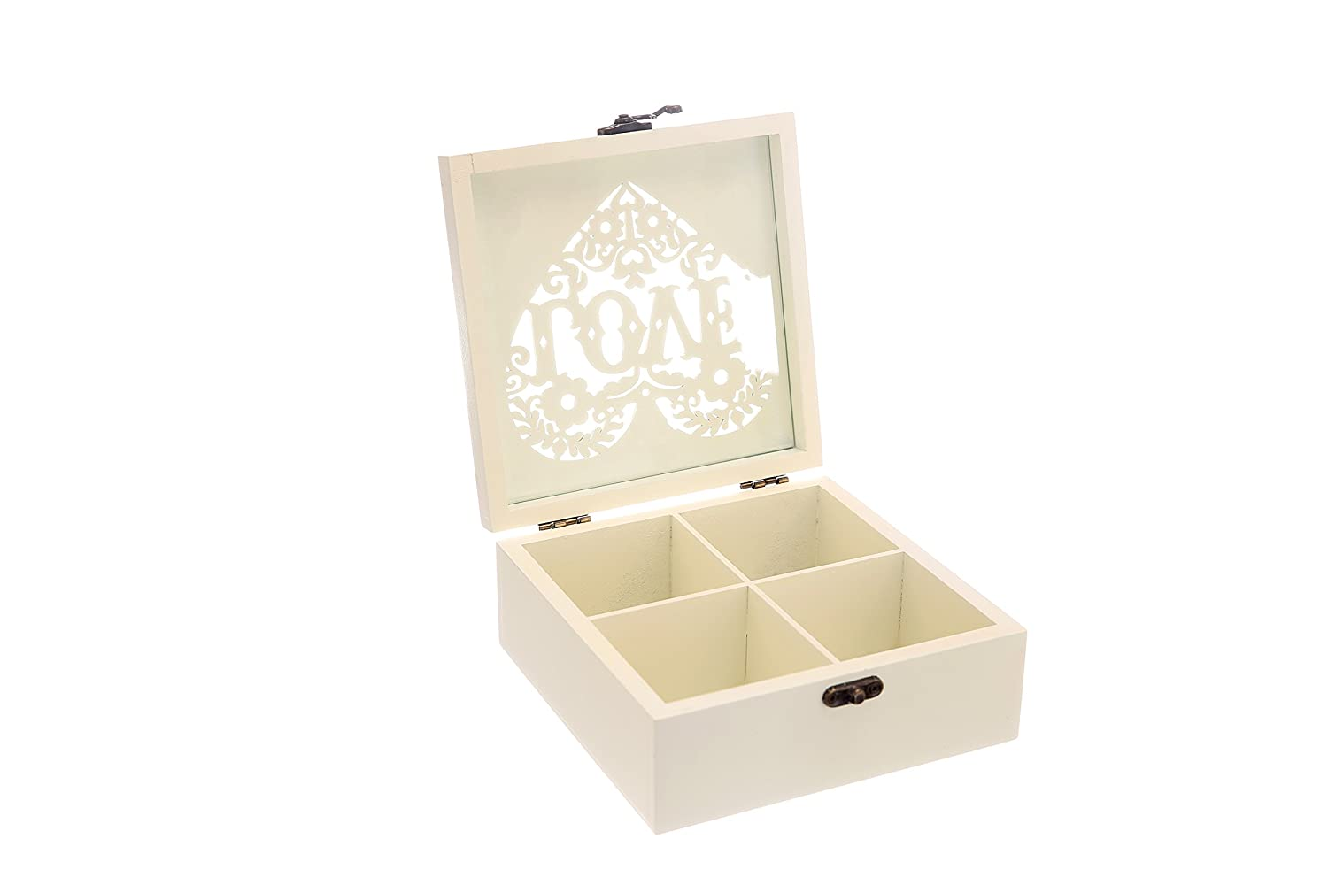Stylish wooden tea bag container with carved top and lock. Decorative wooden treasure box with engrave art. Mini storage. Chest for jewelry. Memento case. Gift Box. Card collection wooden box.