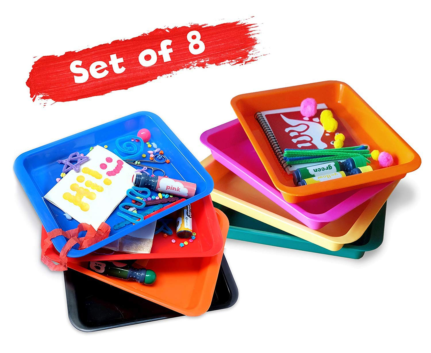 Set of 8 Kids Activity Plastic Tray, Rainbow of Colors, Arts and Crafts Organizer Tray, Serving Tray, Great for Crafts, Beads, Orbeez Water Beads, Painting and Montessori Work by Dab and Dot Markers