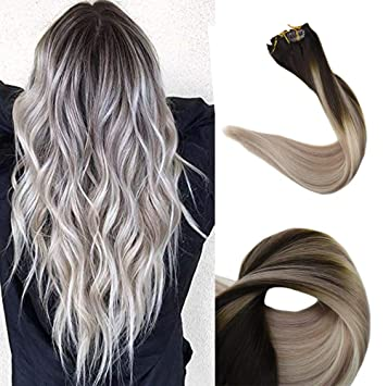 Full Shine 18 inch Clip Hair Extensions Remy Ombre Color 2 Fading To 18  Ash Blonde And Color 60 Platinum Blonde Balayage Style 100% Real Human Hair