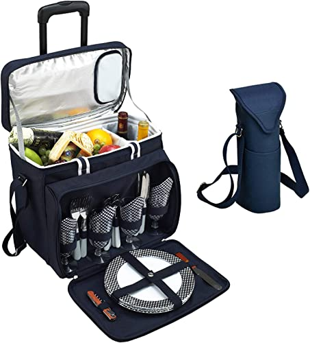 Picnic at Ascot Original Equipped Cooler on Wheels for 4 – Extra Wine Tote – Designed and Assembled in California – Navy