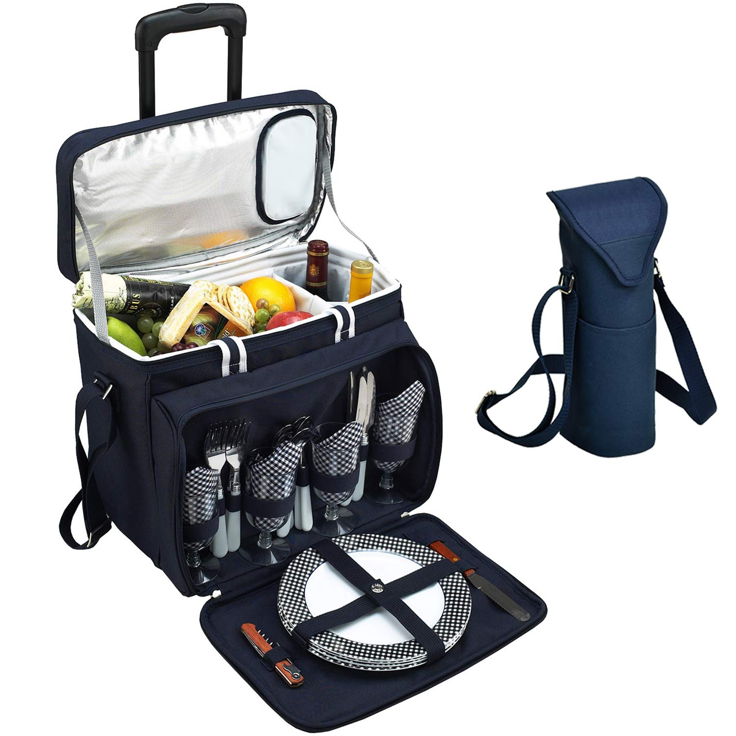 Picnic at Ascot Original Equipped Cooler on Wheels for 4 - Extra Wine Tote - Designed and Assembled in California - Navy by Picnic at Ascot