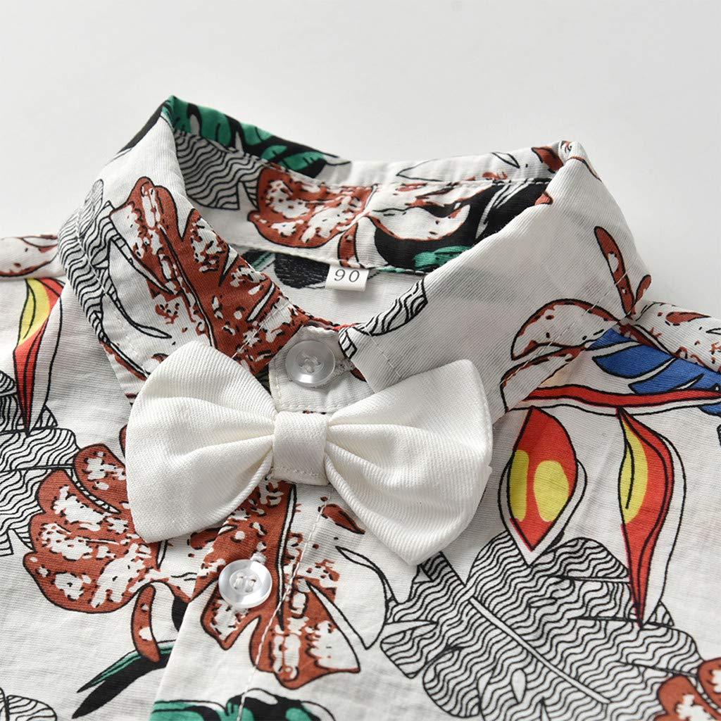 Tronet Onesies Baby boy//Girl Infant Baby Boys Short Sleeve Bow Tie Gentleman Leaf Print Jumpsuit Romper