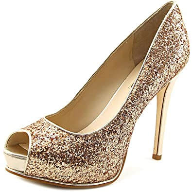 Amazon.com | Guess Honoran Women US 7.5 Gold Peep Toe Platform Heel | Shoes